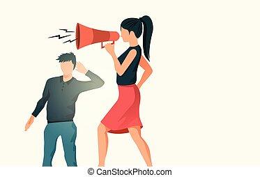 gebrauchend, nachricht, megaphon, kommunizieren, frauen