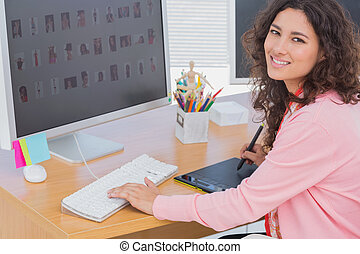 gebrauchend, redakteur, tablette, grafik