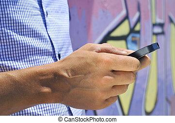 gebrauchend,  smartphone, junger, Mann