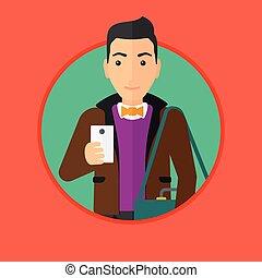 gebrauchend, smartphone., mann