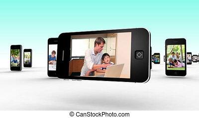 gebrauchend, togethe, familien, internet