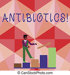 gebraucht, foto, geschaeftswelt, antibiotics., ausstellung, droge, schreibende, begrifflich, behandlung, infections., showcasing, bakteriell, hand, prävention
