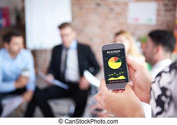 gebraucht, versammlung, mobilephone, geschaeftswelt