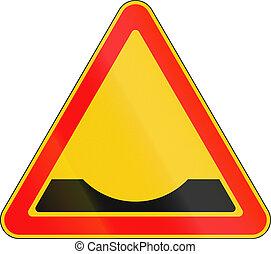 gebraucht, voraus, -, zeichen, belarus, warnung, graben, straße