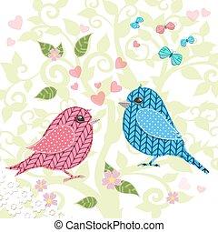 gebreid, vogels, op, boompje, voor, jouw, ontwerp