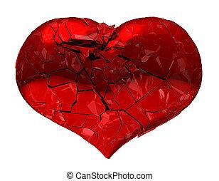 gebrochenen herz, -, unerwiderte liebe, krankheit, tod,...