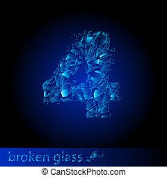 gebroken glas, -, cijfer, vier