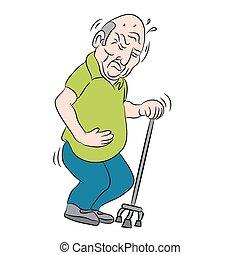 gebruik, bejaarde, stok
