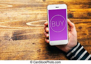gebruik, beweeglijk, portemonaie, om te, aankoop, items, in, online boodschapend doend