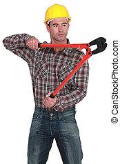 gebruik, bolt-cutters, man