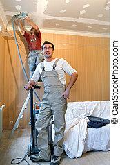 gebruik, decorateurs, twee, sander