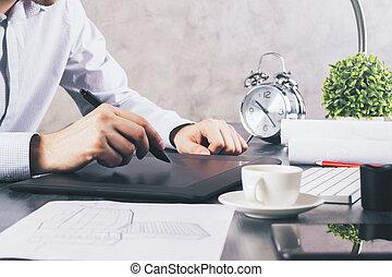 gebruik, grafisch, kantoor, tablet, man