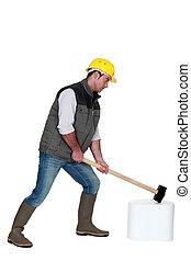 gebruik, hamer, man