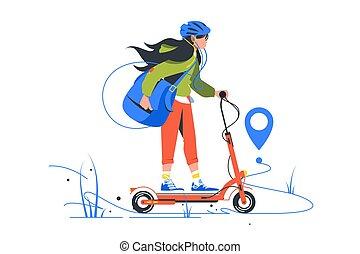 gebruik, jonge, bag., aflevering, scooter, ny, schop, meisje