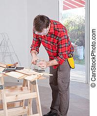 gebruik, man, elektrisch, sander, hand