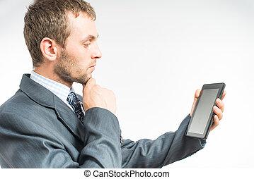 gebruik, man, tablet, digitale