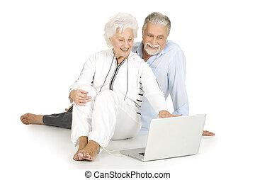 gebruik, paar, draagbare computer, bejaarden