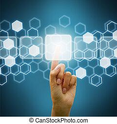 gebruik, scherm, vrouw, hand, digitale
