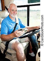gebruik, senior, bestuurder, navigatiesysteem