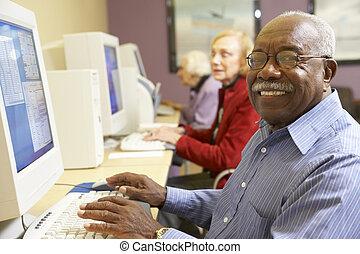 gebruik, senior, computer, man