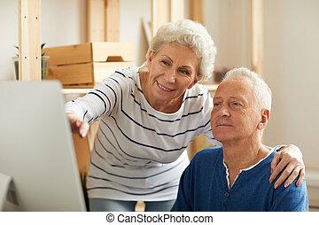 gebruik, senior, computer, paar