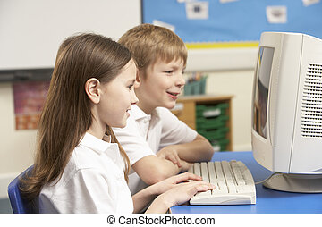 gebruik, stand, computer het, schooljeugd
