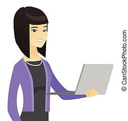 gebruik, vrouw, aziaat handel, laptop.