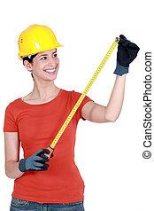 gebruik, vrouw, rolmeter