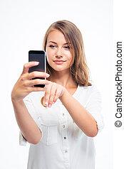 gebruik, vrouw, smartphone, het charmeren