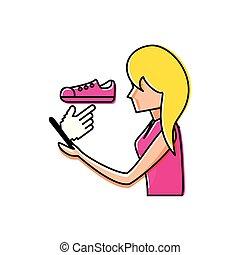 gebruik, vrouw, smartphone, schoentjes, aankoop