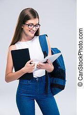gebruik, vrouwlijk, computer, tiener, tablet