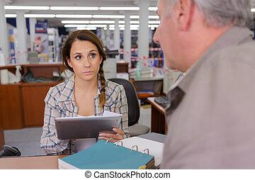 gebruik, vrouwlijk, mannelijke , tablet, kantoor