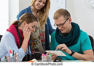 gebruik, werken, tablet, digitale