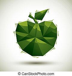 gebruiken, gemaakt, appel, pictogram, moderne, groene, geometrisch, 3d, best, stijl