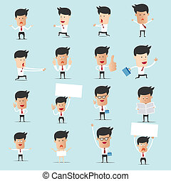gebruiken, set, velen, grafisch, karakter, spotprent, 2, zakenman, presentatie, ontwerp