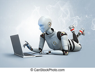 gebruikende laptop, robot, het liggen, vloer