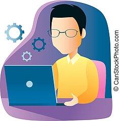 gebruikende laptop, werkende , man