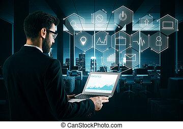 gebruiker, media, technologie, concept
