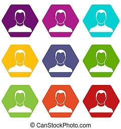 gebruiker, pictogram, set, kleur, hexahedron