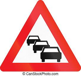 gebruikt, denemarken, rijen, -, meldingsbord, waarschijnlijk, waarschuwend, verkeer, straat