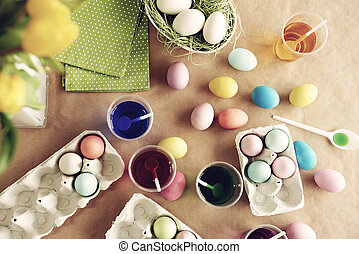 gebruikt, eitjes, kleuren, vijf, verf, pasen