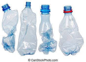gebruikt, flessen, plastic