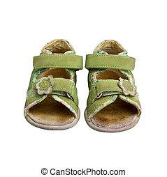 gebruikt, groene, kind, sandalen, vrijstaand, op wit
