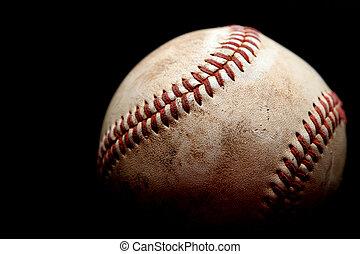 gebruikt, honkbal, op, black