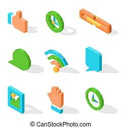 gebruikt, iconen, media, vrijstaand, helder, set, sociaal