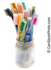 gebruikt, kleurrijke, toothbrushes
