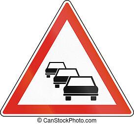 gebruikt, rijen, -, meldingsbord, waarschijnlijk, waarschuwend, verkeer, hongarije, straat
