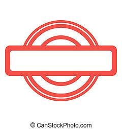 gebruikt, rode grunge, postzegel, vrijstaand, op wit, achtergrond.