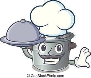 gebruikt, voedingsmiddelen, pot, het koken, kok, spotprent, liggen