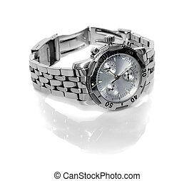 gebruikt, zilver, horloge